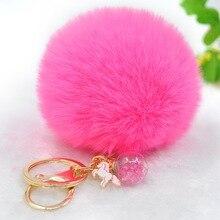 2019 New Cute Animal Unicorn Keychain Women Pompom Faux Rabbit Fur Ball Keyring Star Glass Charm Pom Pom Key Chain Bag Pendant цена 2017