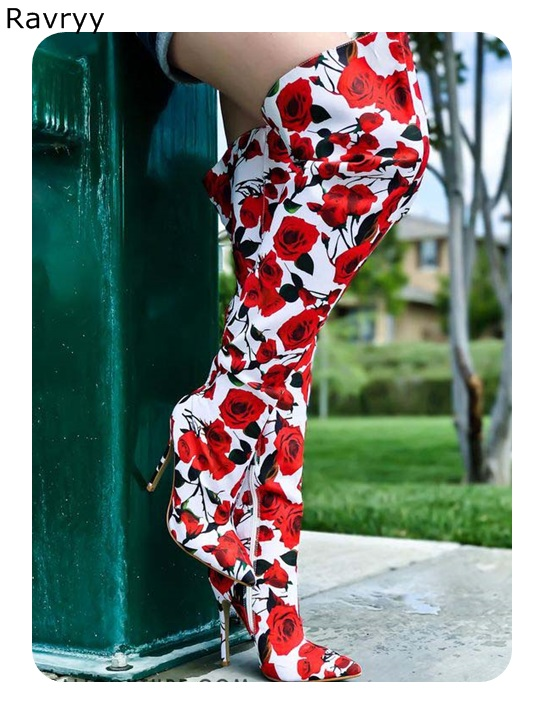 Red Rose Printing Woman Long Boots 2018 Autumn Winter Fashion Female Shoes Woman Over-the-knee Boots Pointed Toe Thin HeelRed Rose Printing Woman Long Boots 2018 Autumn Winter Fashion Female Shoes Woman Over-the-knee Boots Pointed Toe Thin Heel