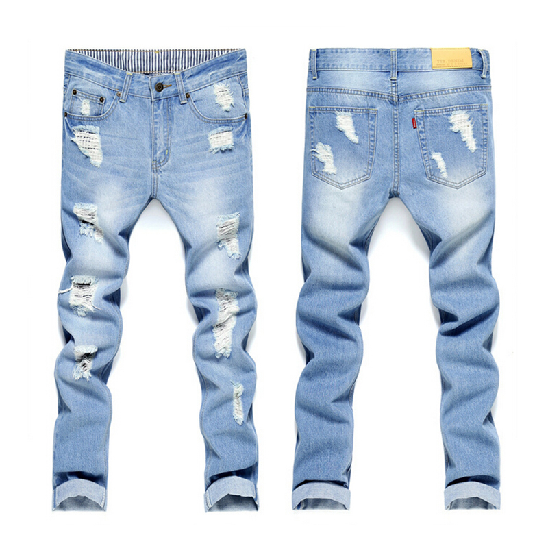 2017 New Fashion Pencil Pants Slim Designer Denim Hole Ripped Jeans For Men Retail & Wholesale Skinny Jeans mens light blue jean men s cowboy jeans fashion blue jeans pant men plus sizes regular slim fit denim jean pants male high quality brand jeans