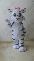 wild Small white tiger mascot costumes cartoon cat costumes hand make stripe