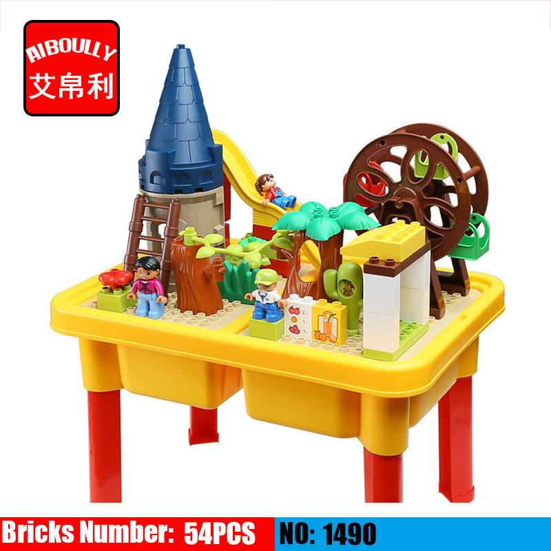 AIBOULLY 1490 building block table homes Park Ferris wheel fun large blocks assembling toys for children Compatible With Duplo