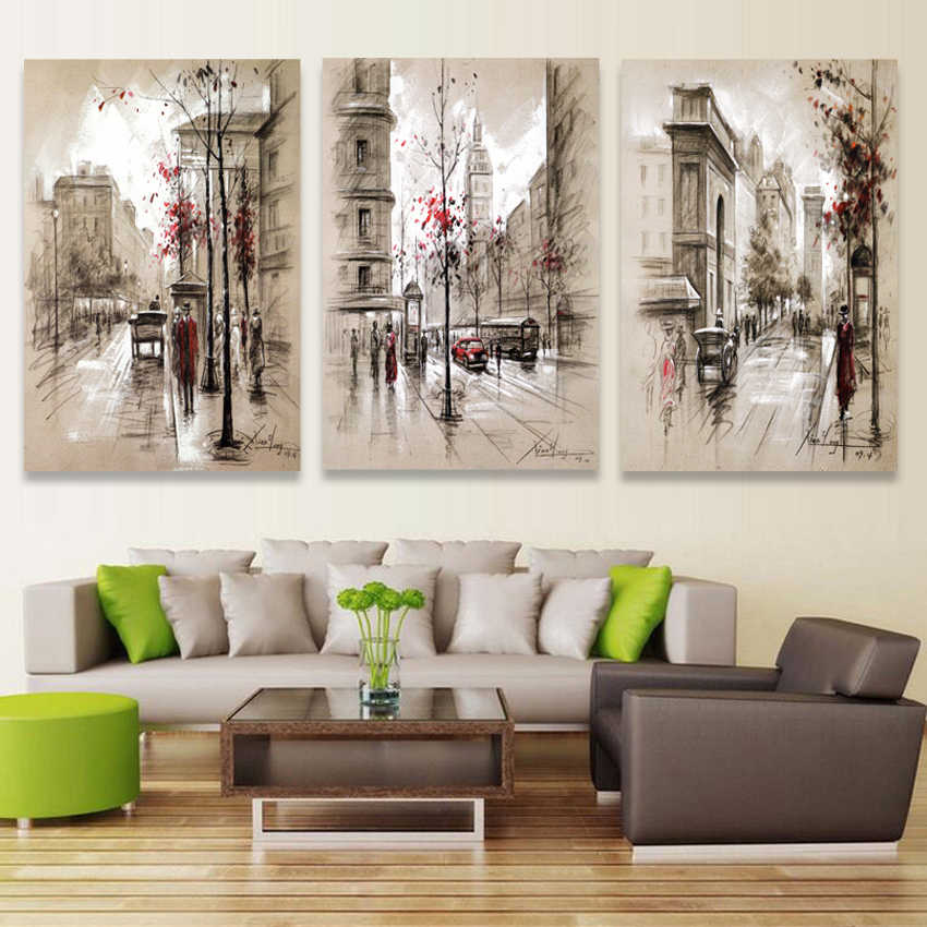 Modern Picture The Modular Paintings On The Art HD Print Canvas Oil Painting Wall Pictures For Living Room City Street No Frame