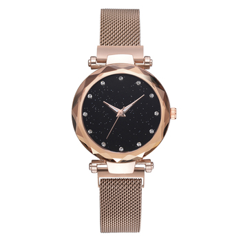 Dropshipping Luxury Magnet Buckle Quartz Watches For Women Sky Starry Creative Fashion Clock BLUE PURPLE BLACK AND ROSE