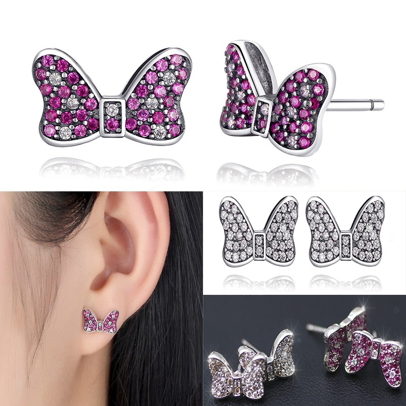 Girls Cute Pink Crystal Minnie Bow Stud Earrings White CZ Silver Color Earring For W