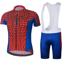 100% Polyester Men's Cycling Clothing Ropa Ciclismo MTB Sets Cycling Jersey And Bib Shorts 2017 Superhero Spiderman Sports suit