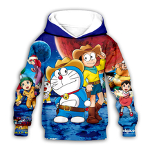 цена на kawaii Doraemon Nobita Nobi 3D galaxy print Kids japan Cartoon anime hoodies sweatshirt baby boy girl Children casual pullover