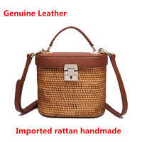 Genuine Leather hand woven bag Rattan bag High grade Vietnamese wild rattan weaving women's bag High quality metal fitting