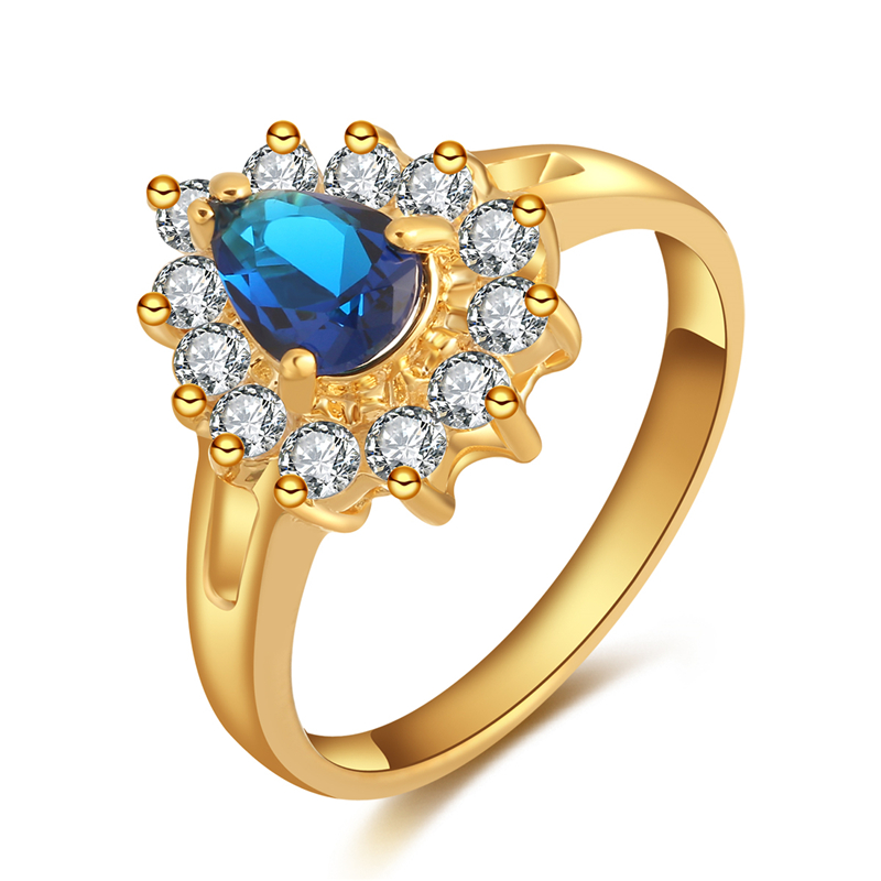 CWEEL Rings For Women Wedding Engagement Acessories Female Ring Gold Color Cubic Zirconia Jewelry Rings Big Promotion
