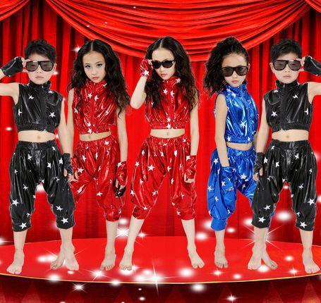 605d52311 2015 New Bright Girls Boys Modern Jazz Hip Hop Dance Costumes Kids ...