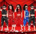 2015 New Bright Girls Boys Modern Jazz Hip Hop Dance Costumes Kids Satge Dancewear Top&Pants Size 110-160