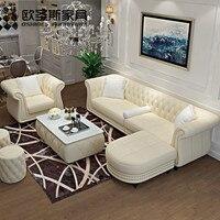 Europa classic vintage divano in pelle, 4 posti chesterfield divano in pelle, vendita calda dubai mobili divano in pelle W35