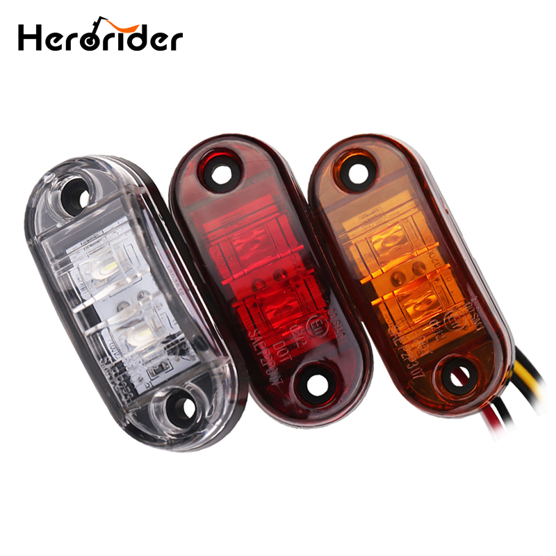 Herorider 24v 12v Amber LED Side Marker Lights For Trucks Side Clearance Marker Light Clearance Lamp 12V Red White for Trailer 5pcs lot free shipping outdoor 125khz em id weigand 26 proximity access control rfid card reader with two led lights