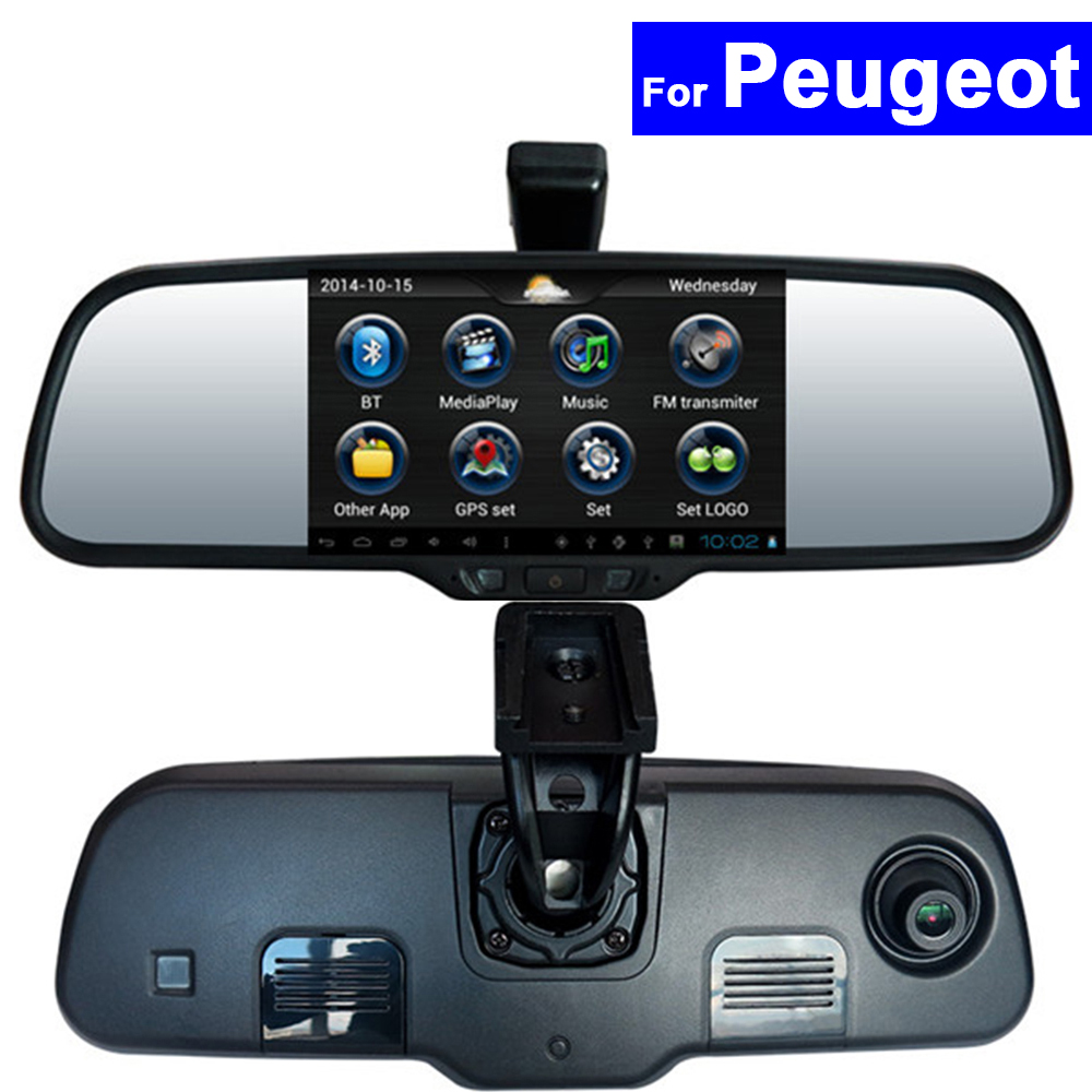Android Car Rear View Mirror DVR GPS Bluetooth WIFI for Peugeot 508 2008 3008 307 407 408 308S 4008 301 5008 308S Auto Monitor free shipping zinc alloy leather cover case car styling smart key shell for peugeot 2008 3008 4008 308s 408 508 car remote
