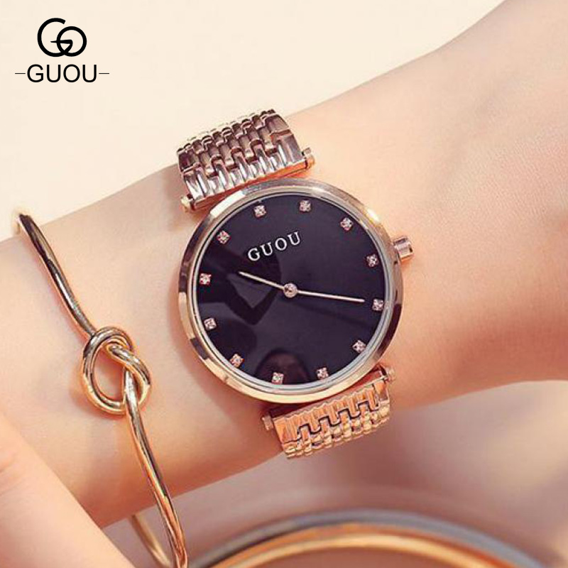 GUOU Luxury Bling Rose Gold Crystal Bracelet Quartz Wristwatches Wrist Watch for Women Ladies NO FADE 3 Year Warranty GU003 100% new luxury rose gold bling crystal leather quartz wristwatches wrist watch clock for men male women ladies couple