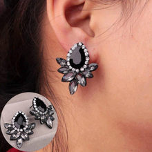 1 Pair Sell New Women's Fashion Earrings Rhinestone Gray/Pink Glass Black Resin Sweet Metal with Gems Ear Stud Earrings For Gir(China)