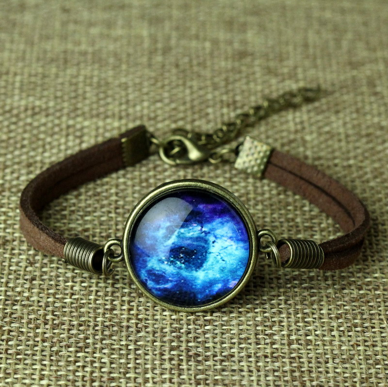 Fashion Leather Bracelet Space Galaxy Bracelets Jewelry Glass Cabochon Pulsera Pulseira Feminino