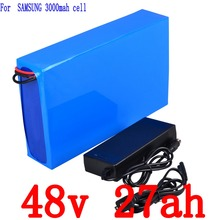 Free Customs Tax 48v 1000w Electric Bicycle Battery 48v 27ah for Samsung 3000mah Cell with 30A BMS and 2A charger free shipp