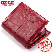 GZCZ Women Wallet Genuine Leather Ladies Mini Card Holder Purse Luxury Carteira Masculina Short Clutch Bags