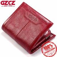 GZCZ Women Wallet Genuine Leather Ladies Mini Card Holder Purse Luxury Carteira Masculina Short Clutch Bags