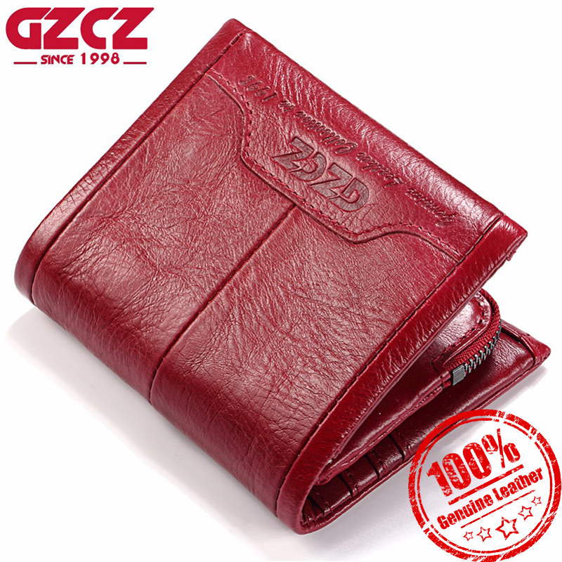 GZCZ Women Wallet Genuine Leather Ladies Mini Card Holder Purse Luxury Carteira Masculina Short Clutch Bags Wallet Luxury Brand