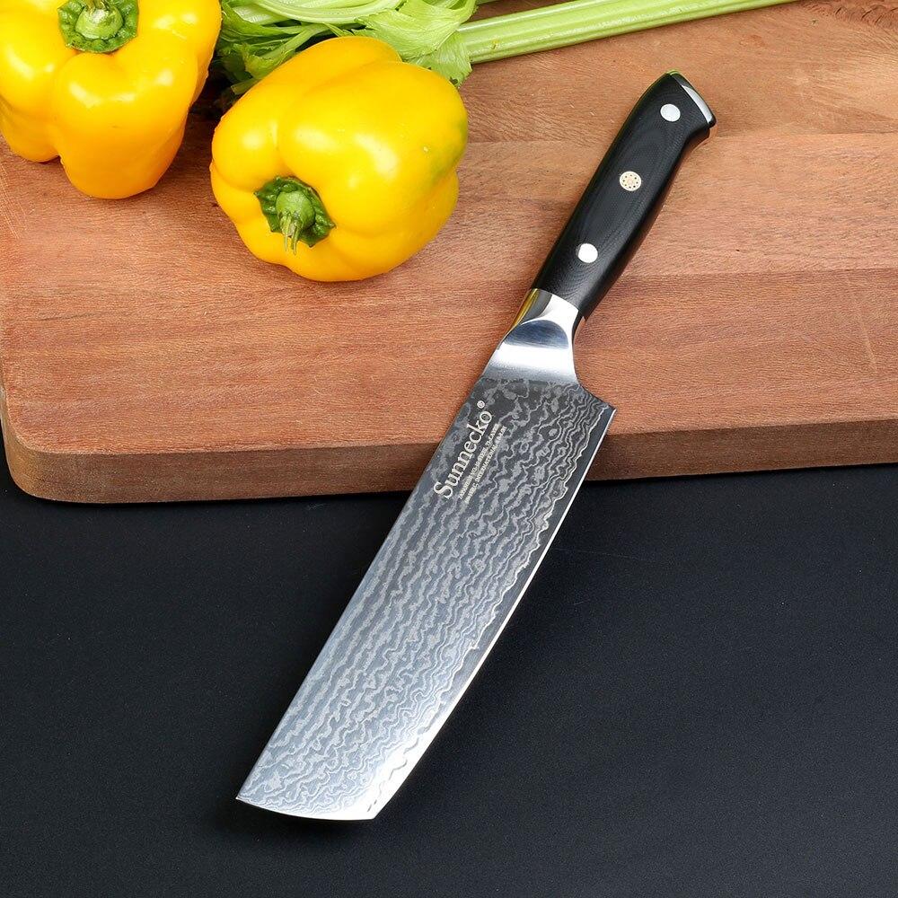 Sunnecko 7-palčni nož Cleaver Chef's Nož Japonski Damask VG10 Chef - Kuhinja, jedilnica in bar