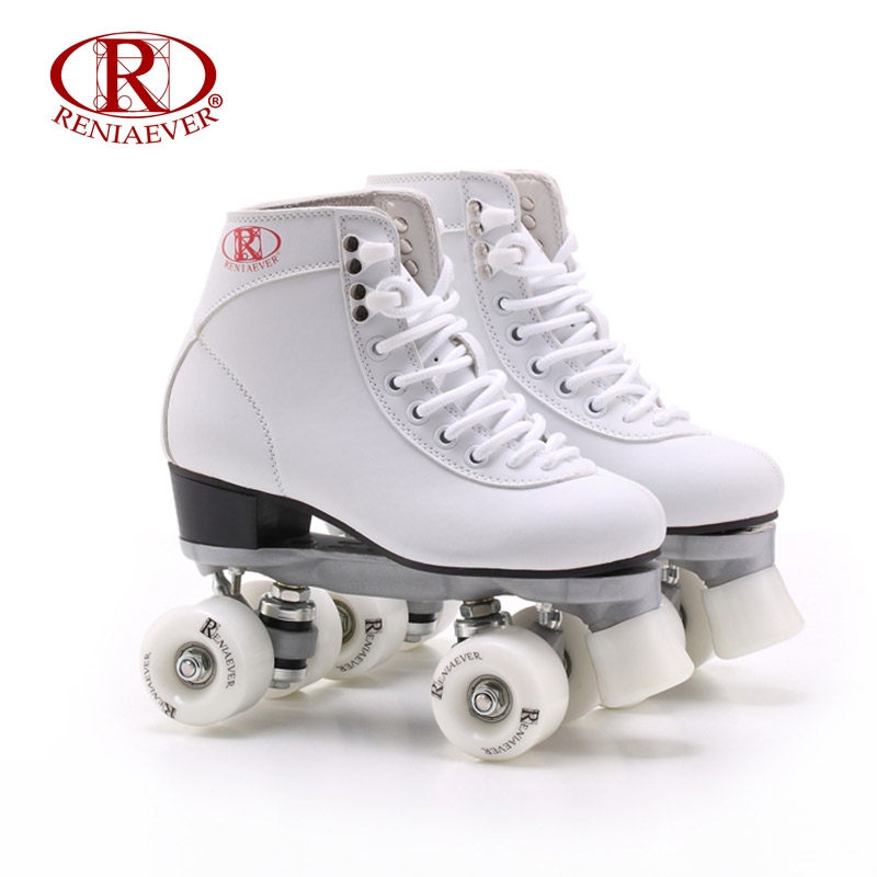 RENIAEVER Roller Skates Double Line Skates White Women Female Lady Adult White PU 4 Wheels Two line Skating Shoes Patines reniaever double roller skates skating shoe gift girls black wheels roller shoe figure skates white free shipping