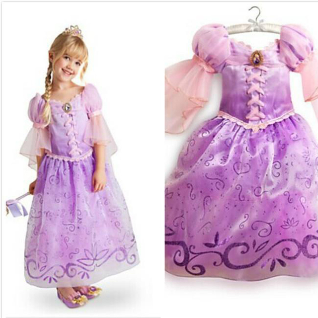 Fantasia Vestidos,2016 New Children Kids Cosplay Dresses Rapunzel Costume Princess Wear Perform Clothes HOT Sale free shipping