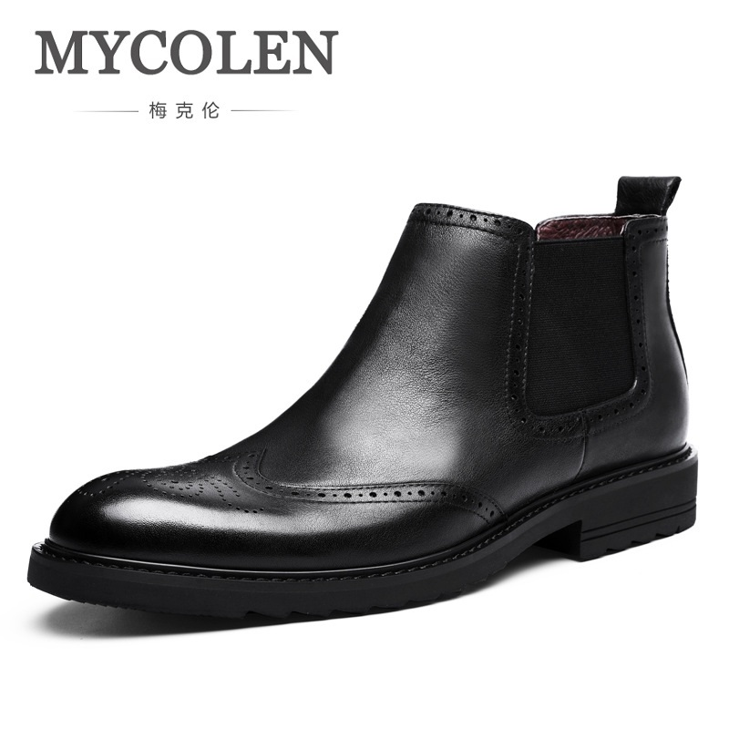 MYCOLEN Luxury Fashion Mens Boots Winter Cow Leather Ankle Boots Men Bullock Carving Comfortable Flower Martin Boots Bottine anne klein 9787 mpsv