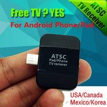 Nueva ATSC USB HD TV Digital receptor sintonizador receptor de satélite TV Stick para Android del teléfono / pad, trabajo en ee.uu. / canadá / méxico / corea