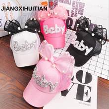2018 Children Hip Hop Mesh Baseball Cap Summer Baby rabbit ear pearl bow kids Sun Hat Boys Girls snapback Caps for 2-8 years old(China)