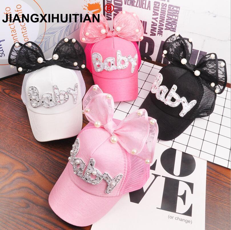 2018 Children Hip Hop Mesh   Baseball     Cap   Summer Baby rabbit ear pearl bow kids Sun Hat Boys Girls snapback   Caps   for 2-8 years old