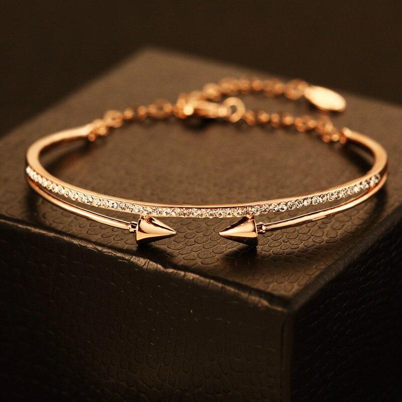 CX-Shirling Women Luxurious Full Shiny Crystal Bracelet&Bangle Brand Design Color Keeping Rivet Fancy Bracelet Bangles Female