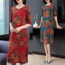 2019 Summer Chinese Style Silk Dress Plus Size Large Women Party Night Dresses Robe Print Floral Elegant Vintage Midi Clothing цена и фото
