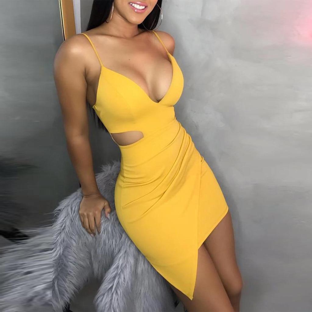 Pure Color dress women summer 2019 Sleeveless Deep V Tight Fitting Camisole Buttock casual dress spring Innrech Market.com