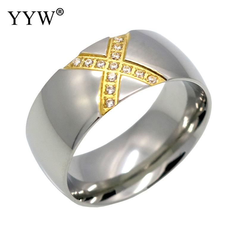 8MM Cross X Crystal Ring Bague Femme Stainless Steel Finger Rings Jewelry For Women /Men Engagement Fashion Jewelry Gift