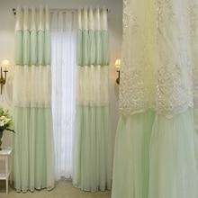 Brand New Romantic Korean Style Custom Made Luxury Princess Curtains Embroidery Gauze Curtains Living Room Cortinas