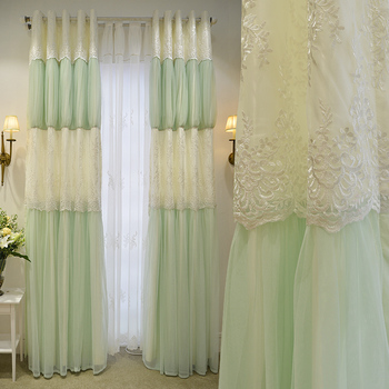 Brand New Romantic Korean Style Custom Made Luxury Princess Curtains Embroidery Gauze Curtains Living Room Cortinas with Lace