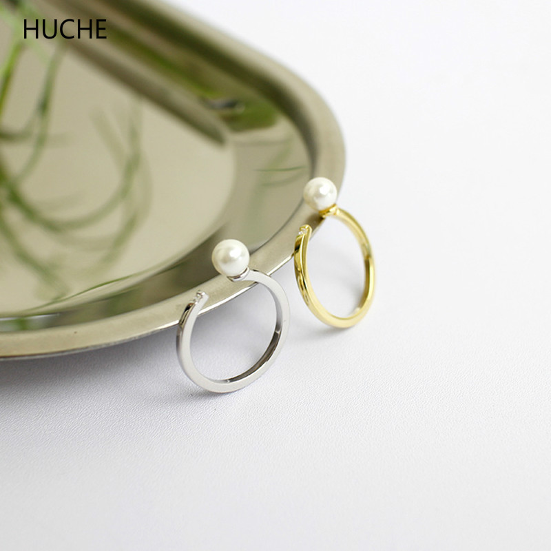 HUCHE Simple Design Silver/Gold Color 100% Real Pure 925 Sterling Silver Jewelry Open Rings for Women with Pearl Elegant HC074 elegant stand collar pockets design pure color coat for men