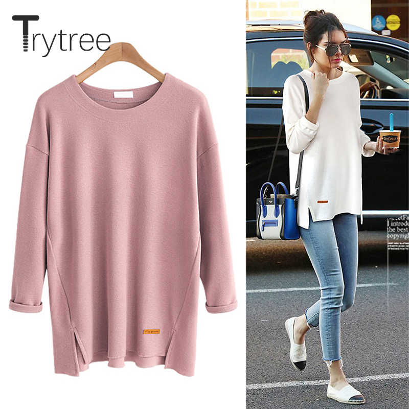 Trytree Spring Summer T-shirt Casual Cotton Polyester Six Colours Solid Full sleeve O-neck Women Long Tops Cotton Fashion Tshirt