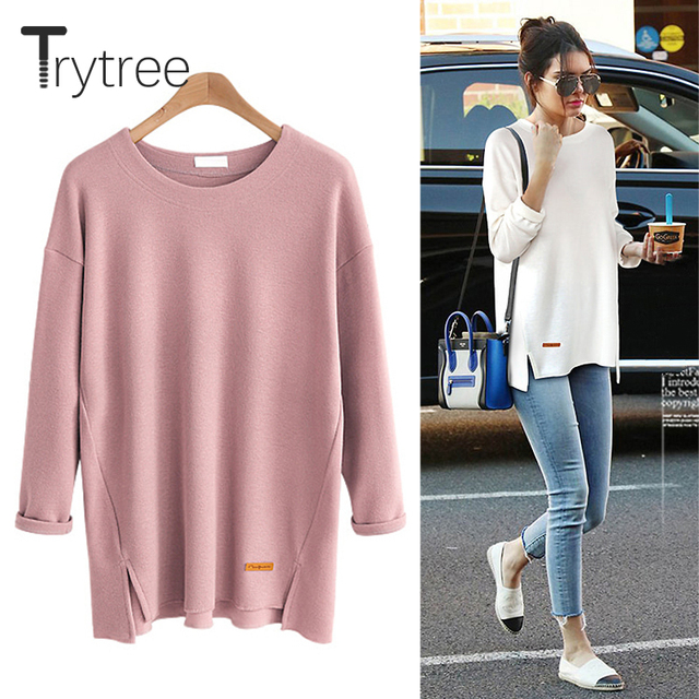 Trytree 2018 Autumn T-shirt Casual Cotton Polyester Six Colours Solid Full sleeve O-neck Women Long Tops Cotton Fashion Tshirt