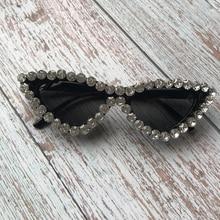 ZAOLIHU Black Color Cat Eye Women Sunglasses Rhinestone Arou