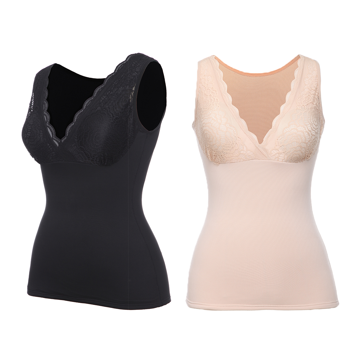 Thermal Underwear Tops for Women Fleece Lined Tank Tops Lace V Neck Camisoles