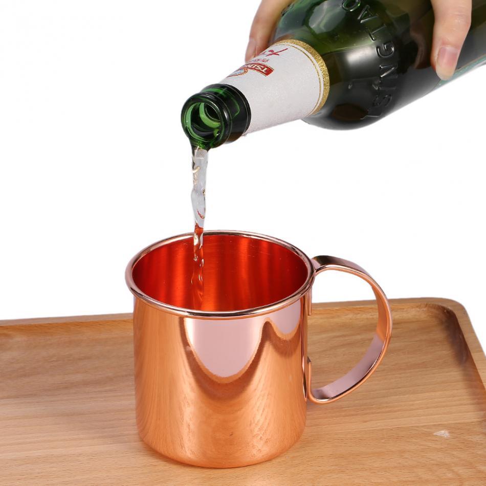 1 шт. Нержавеющаясталь Медь покрытие пиво молоко Кофе Чай кружка Home Bar Питьевая чашка с ручкой