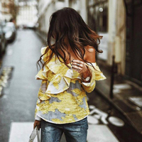 Ky&Q 2017 Fashion Women Yellow Lace Blouse Series One Shoulder Ruffles shirt Tops Summer Long Sleeve Embroider Blouses Pullover