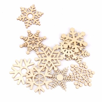 10 Uds copo de nieve de madera tallado en láser árbol de Navidad o regalo etiquetas para Weding Navidad DIY accesorios decoración de Año Nuevo