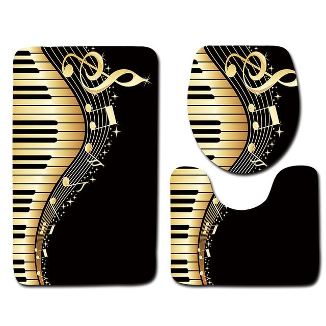 3 pz Bagno Mat Tappeti Set di Musica per Pianoforte Modello Creativo Anti Slip d
