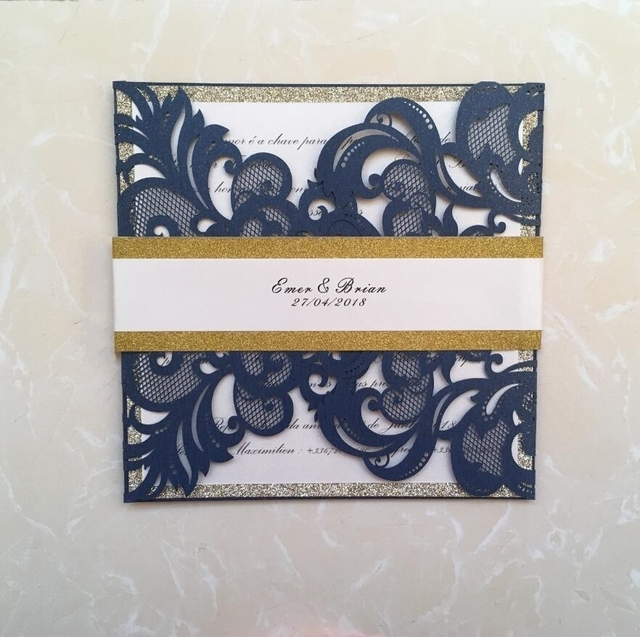 Dark Blue Lace Wedding Invitation Cards With Gold Belly Band And Tag Laser Cut Birthday
