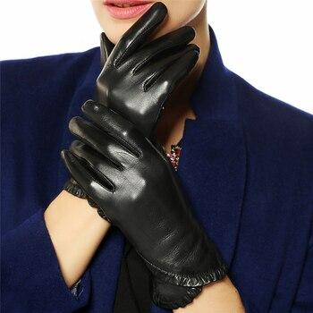 Winter Women's Genuine Leather Gloves Female 2020 New Brand Fashion Trend Warm Velvet Black Gloves Goatskin Mittens L001NC brand russian winter women warm fashion gloves female genuine leather mittens 100
