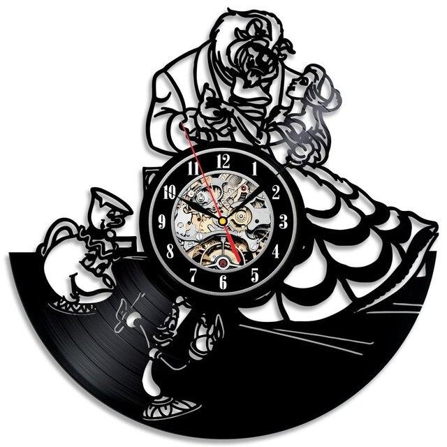 Creative Cd Wall Clock Modern Design Beauty And The Beast Theme Watch Decorative Hanging Vinyl