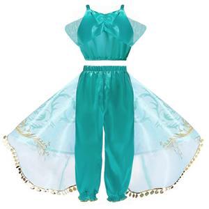 Image 3 - Arabische Prinses Aladdin Reflecterende tweedelige set Movie cosplay Jasmijn Kostuum Lovertjes Kids Halloween Vestido infantil menina